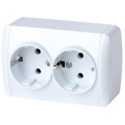 Розетка двойная электрическая с з/к наружная IP20 без крышки e.aqua.1233.gr