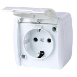Розетка электрическая одинарная с з/к наружная IP54 крышка белая e.aqua.1231.gr