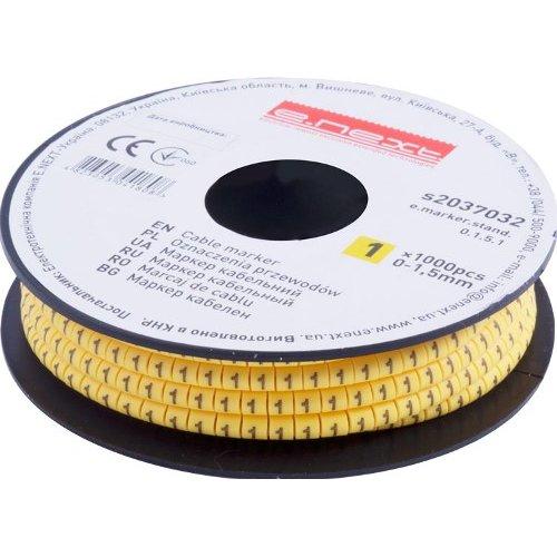 Фото Маркер кабельный, 0-1,5 кв.мм, 1, 1000 шт e.marker.stand.0.1.5.1 Электробаза