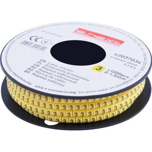 Фото Маркер кабельный, 0-1,5 кв.мм, 3, 1000 шт e.marker.stand.0.1.5.3 Электробаза