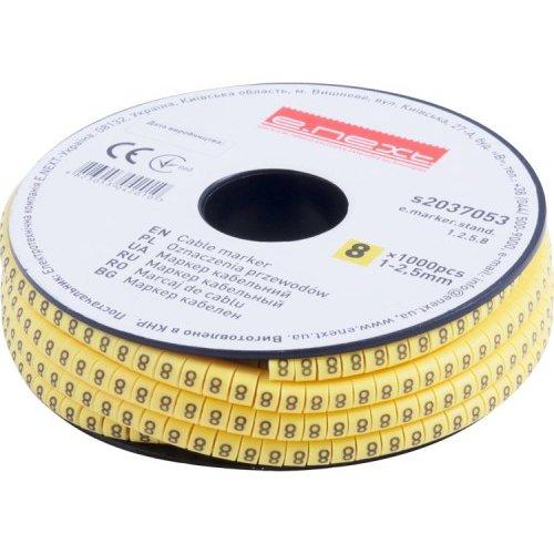 Фото Маркер кабельный, 1-2,5 кв.мм, 8, 1000 шт e.marker.stand.1.2.5.8 Электробаза