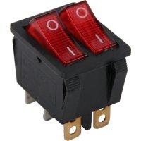 Фото Переключатель клавишный, 6 pin, двойной, с индикацией e.switch.key.02
