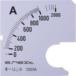 Шкала для щитового амперметра АС 1000А 72х72мм e.meter72.a1000.scale