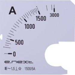 Шкала для щитового амперметра АС 1500А 72х72мм e.meter72.a1500.scale