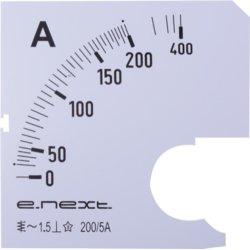 Шкала для щитового амперметра АС 200А 72х72мм e.meter72.a200.scale