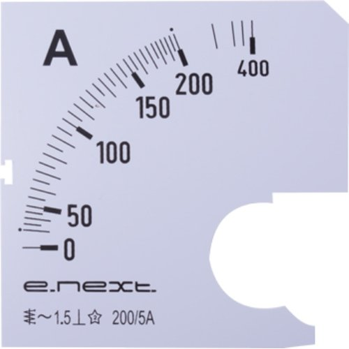 Фото Шкала для щитового амперметра АС 200А 72х72мм e.meter72.a200.scale Электробаза