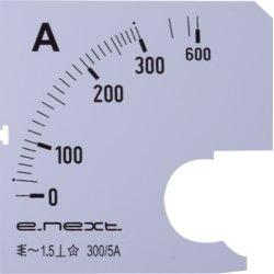 Шкала для щитового амперметра АС 300А 72х72мм e.meter72.a300.scale