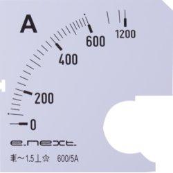 Шкала для щитового амперметра АС 600А 72х72мм e.meter72.a600.scale
