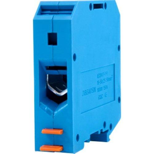 Фото Клеммная колодка наборная на DIN-рейку, синяя, с крышкой e.tc.din.pro.50.blue Электробаза