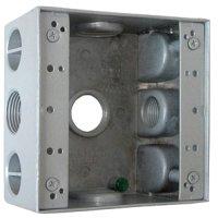 Фото Коробка монтажная металлическая без крышки с 4 резьбовыми вв