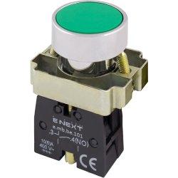 Кнопка без подсветки плоская зеленая, без фиксации, 1NO e.mb.ba31