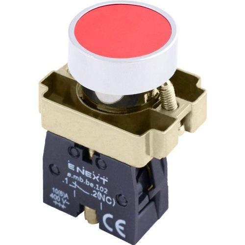 Фото Кнопка без подсветки плоская красная, без фиксации, 1NС e.mb.ba42 Электробаза