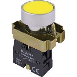 Кнопка без подсветки плоская желтая, без фиксации, 1NO e.mb.ba51