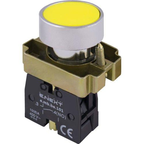 Фото Кнопка без подсветки плоская желтая, без фиксации, 1NO e.mb.ba51 Электробаза