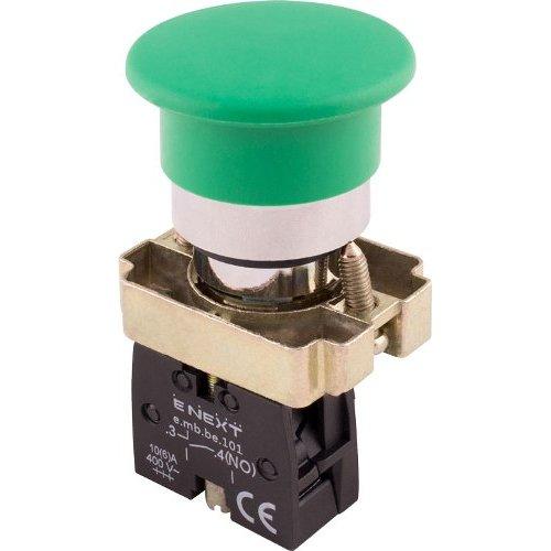 Фото Кнопка грибок без фиксации зеленая, 1NO e.mb.bc31 Электробаза