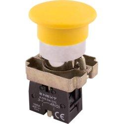 Кнопка грибок без фиксации желтая, 1NO e.mb.bc51