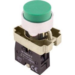 Кнопка без подсветки выпуклая зеленая, без фиксации, 1NO e.mb.bl31