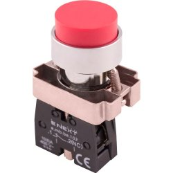 Кнопка без подсветки выпуклая красная, без фиксации, 1NС e.mb.bl42