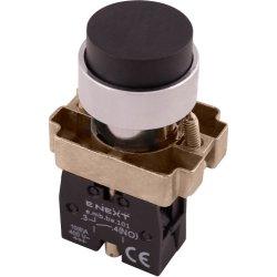 Кнопка без подсветки выпуклая черная, без фиксации, 1NO e.mb.bl21