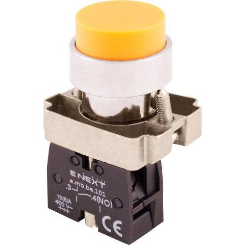 Фото Кнопка без подсветки выпуклая желтая, без фиксации, 1NO e.mb.bl51 Электробаза