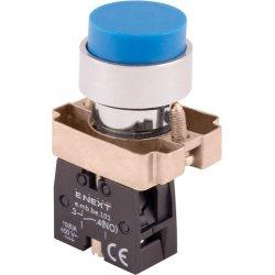 Кнопка без подсветки выпуклая синяя, без фиксации, 1NO e.mb.bl61