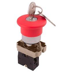 Кнопка грибок с ключом поворотная красная, 1NC e.mb.bs142