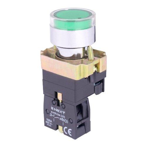 Фото Кнопка с подсветкой зеленая, без фиксации, 1NO e.mb.bw3361 Электробаза