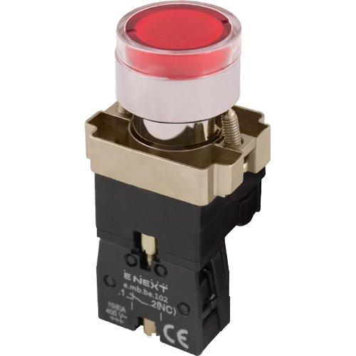 Фото Кнопка с подсветкой красная, без фиксации, 1NC e.mb.bw3461 Электробаза
