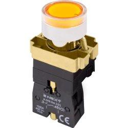 Кнопка с подсветкой желтая, без фиксации, 1NO e.mb.bw3561