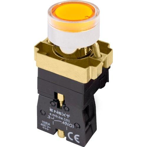 Фото Кнопка с подсветкой желтая, без фиксации, 1NO e.mb.bw3561 Электробаза