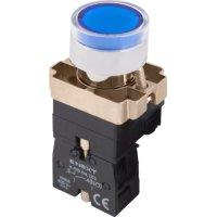 Фото Кнопка с подсветкой синяя, без фиксации, 1NO e.mb.bw3661