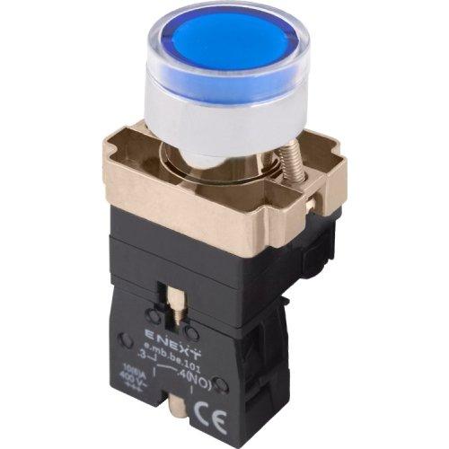 Фото Кнопка с подсветкой синяя, без фиксации, 1NO e.mb.bw3661 Электробаза