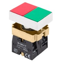Фото Кнопка двойная квадратная зеленая/красная 1NO+1NC e.mb.bl832