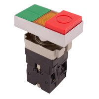 Фото Кнопка двойная квадратная с подсветкой (выпуклая красная) e.