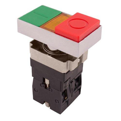 Фото Кнопка двойная квадратная с подсветкой (выпуклая красная) e.mb.bw8465 1NO+1NC Электробаза