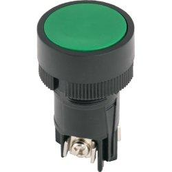 Кнопка пластиковая с фиксацией зеленая 1NO+1NC e.mb.ea135