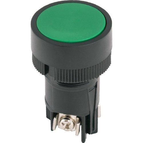 Фото Кнопка пластиковая с фиксацией зеленая 1NO+1NC e.mb.ea135 Электробаза