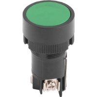 Фото Кнопка пластиковая с фиксацией зеленая 1NO+1NC e.mb.eh135