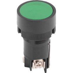 Кнопка пластиковая с фиксацией зеленая 1NO+1NC e.mb.eh135