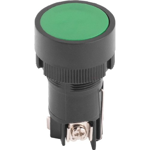 Фото Кнопка пластиковая с фиксацией зеленая 1NO+1NC e.mb.eh135 Электробаза