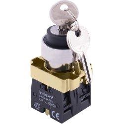 Переключатель с ключом на 2 фиксированых положения 1-0, 1NO+1NC (ключ вынимается слева) e.mb.bg25.lr