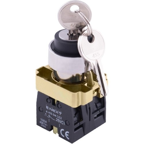 Фото Переключатель с ключом на 2 фиксированых положения 1-0, 1NO+1NC (ключ вынимается слева и справа) e.mb.bg45.lrr Электробаза
