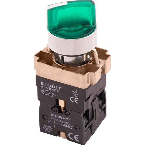 Фото Переключатель с подсветкой на 2 фиксированых положения зеленый e.mb.bk2365 Электробаза