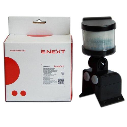 Фото Датчик движения для освещения e.sensor.pir.13.black (черний)  270° IP44 Электробаза