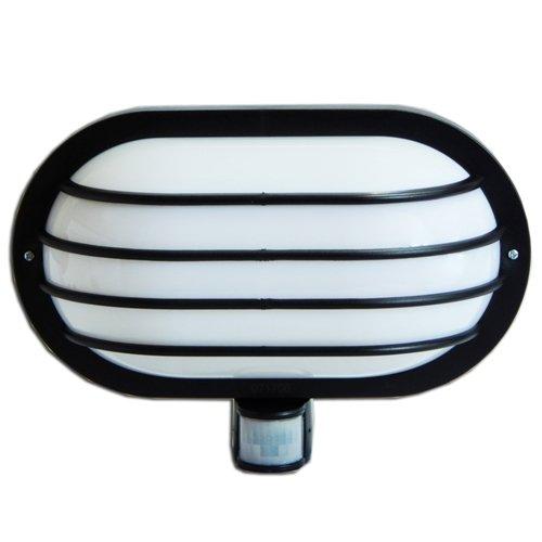 Фото Светильник с датчиком движения настенный e.sensor.lum.69.e27.black(чорний) 180° IP44 Электробаза
