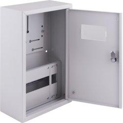 Щиток электрический накладной под 3ф счетчик 9 модулей с замком, с внутренней дверцей под опломбировку e.mbox.pro.n.f3.9z IP54
