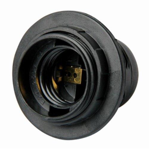 Фото Цоколь Е27 с гайкой со стопором  черный Электробаза