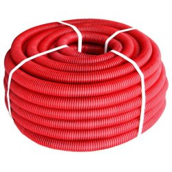 Труба гофрированная тяжелая (750Н) e.g.tube.pro.25.32 (25м).red,красная