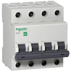 Выключатель автоматический 4Р 63А Х-кА С Easy9 Schneider